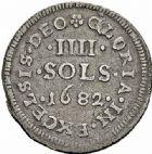 Photo numismatique  ARCHIVES VENTE 2015 -26-28 oct -Coll Jean Teitgen ROYALES FRANCAISES LOUIS XIV (14 mai 1643-1er septembre 1715)  420- Pièce de quatre sols, 1682.