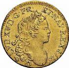 Photo numismatique  ARCHIVES VENTE 2015 -26-28 oct -Coll Jean Teitgen ROYALES FRANCAISES LOUIS XV (1er septembre 1715-10 mai 1774)  434- Louis d'or à la croix du Saint-Esprit, Lyon 1718.