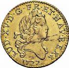 Photo numismatique  ARCHIVES VENTE 2015 -26-28 oct -Coll Jean Teitgen ROYALES FRANCAISES LOUIS XV (1er septembre 1715-10 mai 1774)  436- 1/2 louis d'or aux deux L, Lyon 1722.
