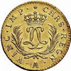 Photo numismatique  ARCHIVES VENTE 2015 -26-28 oct -Coll Jean Teitgen ROYALES FRANCAISES LOUIS XV (1er septembre 1715-10 mai 1774)  438- Louis d'or dit «Mirliton» aux palmes longues, Paris 1724.