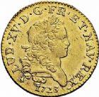 Photo numismatique  ARCHIVES VENTE 2015 -26-28 oct -Coll Jean Teitgen ROYALES FRANCAISES LOUIS XV (1er septembre 1715-10 mai 1774)  439- Louis d'or dit «Mirliton» aux palmes courtes, Rouen 1723.