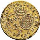 Photo numismatique  ARCHIVES VENTE 2015 -26-28 oct -Coll Jean Teitgen ROYALES FRANCAISES LOUIS XV (1er septembre 1715-10 mai 1774)  441- Louis d'or aux lunettes, Amiens 1734.