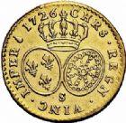 Photo numismatique  ARCHIVES VENTE 2015 -26-28 oct -Coll Jean Teitgen ROYALES FRANCAISES LOUIS XV (1er septembre 1715-10 mai 1774)  442- 1/2 louis d'or aux lunettes, Reims 1726.
