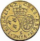 Photo numismatique  ARCHIVES VENTE 2015 -26-28 oct -Coll Jean Teitgen ROYALES FRANCAISES LOUIS XV (1er septembre 1715-10 mai 1774)  443- Louis d'or au bandeau, Reims 1742.