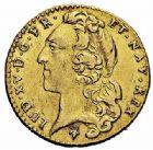 Photo numismatique  ARCHIVES VENTE 2015 -26-28 oct -Coll Jean Teitgen ROYALES FRANCAISES LOUIS XV (1er septembre 1715-10 mai 1774)  444- 1/2 louis d'or au bandeau, Reims 1752.