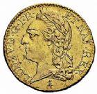 Photo numismatique  ARCHIVES VENTE 2015 -26-28 oct -Coll Jean Teitgen ROYALES FRANCAISES LOUIS XV (1er septembre 1715-10 mai 1774)  446- Louis d'or à la vieille tête, Paris 1773, 2ème semestre.