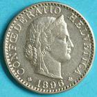 Photo numismatique  MONNAIES MONNAIES DU MONDE SUISSE CONFEDERATION 20 Rappen de 1896.
