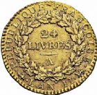 Photo numismatique  ARCHIVES VENTE 2015 -26-28 oct -Coll Jean Teitgen MODERNES FRANÇAISES LA CONVENTION (22 septembre 1792 - 26 octobre 1795)  521- 24 livres, Paris 1793 an II.