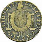 Photo numismatique  ARCHIVES VENTE 2015 -26-28 oct -Coll Jean Teitgen MODERNES FRANÇAISES LA CONVENTION (22 septembre 1792 - 26 octobre 1795)  524- 1/2 sol à la balance, La Rochelle, 1793, an II.