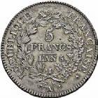 Photo numismatique  ARCHIVES VENTE 2015 -26-28 oct -Coll Jean Teitgen MODERNES FRANÇAISES LE DIRECTOIRE (27 octobre 1795-10 novembre 1799)  525- 5 francs, Paris an 6 (sur 5).