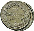 Photo numismatique  ARCHIVES VENTE 2015 -26-28 oct -Coll Jean Teitgen MODERNES FRANÇAISES LE DIRECTOIRE (27 octobre 1795-10 novembre 1799)  528- Décime, Paris an 7, transformé en boîte de forçat ou «pièce à secret».