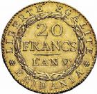 Photo numismatique  ARCHIVES VENTE 2015 -26-28 oct -Coll Jean Teitgen MODERNES FRANÇAISES REPUBLIQUE SUBALPINE (1800-1802)  535- 20 francs or dite « Marengo », Turin an 9.