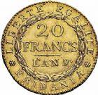 Photo numismatique  ARCHIVES VENTE 2015 -26-28 oct -Coll Jean Teitgen MODERNES FRANÇAISES REPUBLIQUE SUBALPINE (1800-1802)  535- 20 francs or dite «Marengo», Turin an 9.