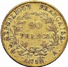 Photo numismatique  ARCHIVES VENTE 2015 -26-28 oct -Coll Jean Teitgen MODERNES FRANÇAISES NAPOLEON Ier, empereur (18 mai 1804- 6 avril 1814)  536- 20 francs or, Paris an 12.