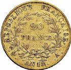 Photo numismatique  ARCHIVES VENTE 2015 -26-28 oct -Coll Jean Teitgen MODERNES FRANÇAISES NAPOLEON Ier, empereur (18 mai 1804- 6 avril 1814)  536- 20 francs or, Paris an 12.