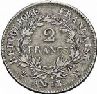 Photo numismatique  ARCHIVES VENTE 2015 -26-28 oct -Coll Jean Teitgen MODERNES FRANÇAISES NAPOLEON Ier, empereur (18 mai 1804- 6 avril 1814)  538- 2 francs, Lille an 13.