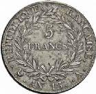 Photo numismatique  ARCHIVES VENTE 2015 -26-28 oct -Coll Jean Teitgen MODERNES FRANÇAISES NAPOLEON Ier, empereur (18 mai 1804- 6 avril 1814)  540- 5 francs, Paris an 13.