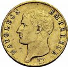 Photo numismatique  ARCHIVES VENTE 2015 -26-28 oct -Coll Jean Teitgen MODERNES FRANÇAISES NAPOLEON Ier, empereur (18 mai 1804- 6 avril 1814)  541- 40 francs or, Paris 1806.