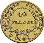Photo numismatique  ARCHIVES VENTE 2015 -26-28 oct -Coll Jean Teitgen MODERNES FRANÇAISES NAPOLEON Ier, empereur (18 mai 1804- 6 avril 1814)  541- 40 francs or, Paris 1806.