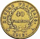 Photo numismatique  ARCHIVES VENTE 2015 -26-28 oct -Coll Jean Teitgen MODERNES FRANÇAISES NAPOLEON Ier, empereur (18 mai 1804- 6 avril 1814)  551- 40 francs or, Paris 1812.