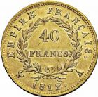 Photo numismatique  ARCHIVES VENTE 2015 -26-28 oct -Coll Jean Teitgen MODERNES FRANÇAISES NAPOLEON Ier, empereur (18 mai 1804- 6 avril 1814)  552- 40 francs or, Paris 1812.