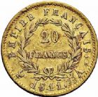Photo numismatique  ARCHIVES VENTE 2015 -26-28 oct -Coll Jean Teitgen MODERNES FRANÇAISES NAPOLEON Ier, empereur (18 mai 1804- 6 avril 1814)  554- 20 francs or, Paris 1811.