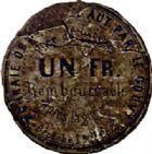 Photo numismatique  ARCHIVES VENTE 2015 -26-28 oct -Coll Jean Teitgen MONNAIES OBSIDIONALES LANGRES. Guerre de 1870-1871, siège des Prussiens  642-  Carton de 1 franc.