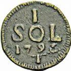 Photo numismatique  ARCHIVES VENTE 2015 -26-28 oct -Coll Jean Teitgen MONNAIES OBSIDIONALES LUXEMBOURG. Assiégée par les Français, 1794-1795  644-  Pièce de 1 sol, 1795.