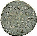 Photo numismatique  ARCHIVES VENTE 2015 -26-28 oct -Coll Jean Teitgen MONNAIES OBSIDIONALES MAASTRICHT. Assiégée par les Espagnols, 1579. Émission du 28 avril 1579.  646- Pièce de 2 stuiver.