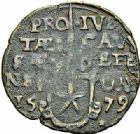 Photo numismatique  ARCHIVES VENTE 2015 -26-28 oct -Coll Jean Teitgen MONNAIES OBSIDIONALES MAASTRICHT. Assiégée par les Espagnols, 1579. Émission du 28 avril 1579.  647- Pièce de 1 stuiver.