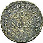 Photo numismatique  ARCHIVES VENTE 2015 -26-28 oct -Coll Jean Teitgen MONNAIES OBSIDIONALES MANTOUE. Assiégée par les Autrichiens, 1799  657- Pièce de 2 sols.