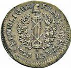 Photo numismatique  ARCHIVES VENTE 2015 -26-28 oct -Coll Jean Teitgen MONNAIES OBSIDIONALES MAYENCE. Assiégée par les Prussiens. 1793  658- Pièce d'un sol.