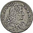 Photo numismatique  ARCHIVES VENTE 2015 -26-28 oct -Coll Jean Teitgen MONNAIES OBSIDIONALES MODÈNE. Occupation française, 1701-1705  660- Pièce de trois sols, double Georgin ou 1/2 livre de Modène, 1704.