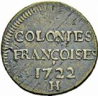 Photo numismatique  ARCHIVES VENTE 2015 -26-28 oct -Coll Jean Teitgen COLONIES FRANCAISES (1640-1843) LOUIS XV (1er septembre 1715-10 mai 1774)  677- LOUISIANE. 9 deniers, La Rochelle 1722 (sur 21).