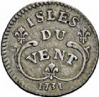 Photo numismatique  ARCHIVES VENTE 2015 -26-28 oct -Coll Jean Teitgen COLONIES FRANCAISES (1640-1843) LOUIS XV (1er septembre 1715-10 mai 1774) Colonies. Antilles. Isles sous le Vent 678- 12 sols 1731.