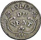 Photo numismatique  ARCHIVES VENTE 2015 -26-28 oct -Coll Jean Teitgen COLONIES FRANCAISES (1640-1843) LOUIS XV (1er septembre 1715-10 mai 1774) Colonies. Antilles. Isles sous le Vent 678- 12 sols 1731.