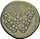 Photo numismatique  ARCHIVES VENTE 2015 -26-28 oct -Coll Jean Teitgen COLONIES FRANCAISES (1640-1843) LOUIS XV (1er septembre 1715-10 mai 1774)  683- 1 sol, Pondichéry 1721/1723.