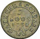 Photo numismatique  ARCHIVES VENTE 2015 -26-28 oct -Coll Jean Teitgen COLONIES FRANCAISES (1640-1843) LOUIS XVI (10 mai 1774–21 janvier 1793) Guyane 685- 2 sous de Cayenne, 1782, 1789.