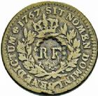 Photo numismatique  ARCHIVES VENTE 2015 -26-28 oct -Coll Jean Teitgen COLONIES FRANCAISES (1640-1843) REVOLUTION FRANCAISE  687- Sol des Colonies Françaises, 1767, surfrappé « RF » 3 sous 9 deniers ou 1/4 d'escalin (28 septembre 1793).
