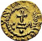 Photo numismatique  ARCHIVES VENTE 2015 -26-28 oct -Coll Jean Teitgen METZ ET SA REGION de la GAULE aux CAROLINGIENS CITES MEROVINGIENNES DE MOSELLE METZ (Mettis) 726- Triens du monétaire Chuldericus (vers 620-640).