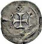 Photo numismatique  ARCHIVES VENTE 2015 -26-28 oct -Coll Jean Teitgen EVECHE DE METZ Epoque de PHILIPPE à JEAN (1260-1282)  784- Denier épiscopal anonyme, Cité de Metz.