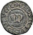 Photo numismatique  ARCHIVES VENTE 2015 -26-28 oct -Coll Jean Teitgen CITE IMPÉRIALE DE METZ Monnayage de billon  883- Angevine ou quart de denier, au M gothique, (fin du XIVe siècle).