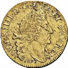 Photo numismatique  ARCHIVES VENTE 2015 -26-28 oct -Coll Jean Teitgen ATELIER ROYAL DE METZ LOUIS XIV (14 mai 1643-1er septembre 1715)  887- Double louis d'or aux quatre L, Metz (AA) 1697.