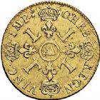 Photo numismatique  ARCHIVES VENTE 2015 -26-28 oct -Coll Jean Teitgen ATELIER ROYAL DE METZ LOUIS XIV (14 mai 1643-1er septembre 1715)  887- Double louis d'or aux quatre L, Metz (AA) 1697.