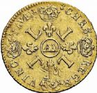 Photo numismatique  ARCHIVES VENTE 2015 -26-28 oct -Coll Jean Teitgen ATELIER ROYAL DE METZ LOUIS XIV (14 mai 1643-1er septembre 1715)  888- Louis d'or aux quatre L, Metz 1696.