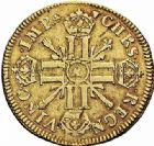 Photo numismatique  ARCHIVES VENTE 2015 -26-28 oct -Coll Jean Teitgen ATELIER ROYAL DE METZ LOUIS XIV (14 mai 1643-1er septembre 1715)  890- Double louis d'or aux huit L et aux insignes, Metz 1701.