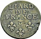 Photo numismatique  ARCHIVES VENTE 2015 -26-28 oct -Coll Jean Teitgen ATELIER ROYAL DE METZ LOUIS XIV (14 mai 1643-1er septembre 1715)  912- Liard de France au buste âgé, Metz (M couronnée) 1693.