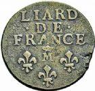 Photo numismatique  ARCHIVES VENTE 2015 -26-28 oct -Coll Jean Teitgen ATELIER ROYAL DE METZ LOUIS XIV (14 mai 1643-1er septembre 1715)  912- Liard de France au buste âgé, Metz (M couronnée) 1693.