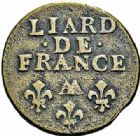 Photo numismatique  ARCHIVES VENTE 2015 -26-28 oct -Coll Jean Teitgen ATELIER ROYAL DE METZ LOUIS XIV (14 mai 1643-1er septembre 1715)  913- Liard de France au buste âgé, Metz (AA) 1694.