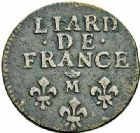 Photo numismatique  ARCHIVES VENTE 2015 -26-28 oct -Coll Jean Teitgen ATELIER ROYAL DE METZ LOUIS XIV (14 mai 1643-1er septembre 1715)  914- Liard de France au buste âgé, Metz (M couronnée) 1693 (2), (AA) 1697.